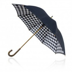 Shelta 58cm Double Canopy Black Check Umbrella